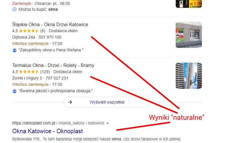 wyniki naturalne dla okna katowice w google